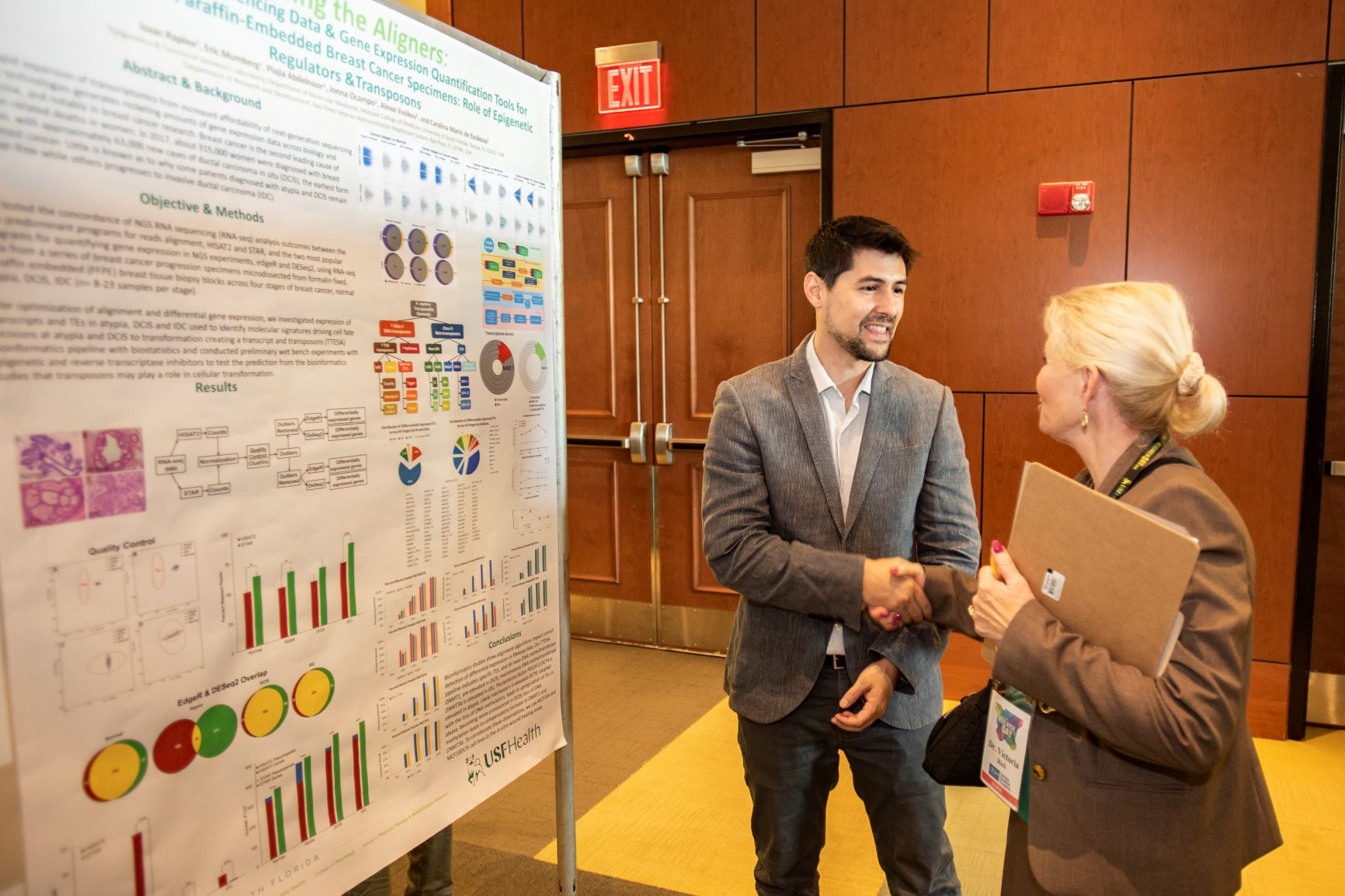 Isaac Raplee presents his poster at Research Day