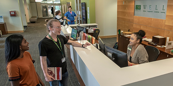Students get assistance at WELL front desk