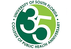 big green logo for the 35th anniversary of South Florida College of Public health