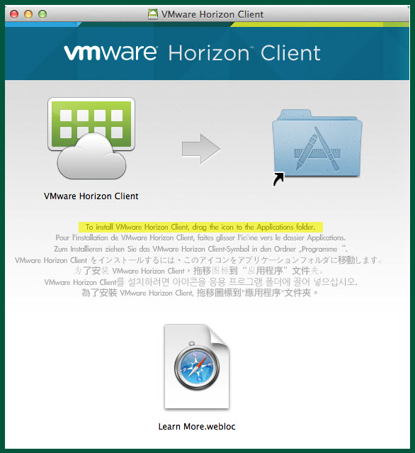 vmware mac drag app screen