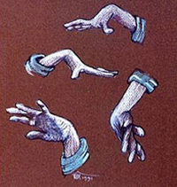 Sketch of choreic hand movements by Zeno