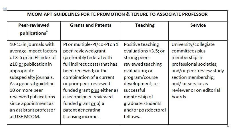 MCOM APT Guidelines for TE Promotion & Tenure