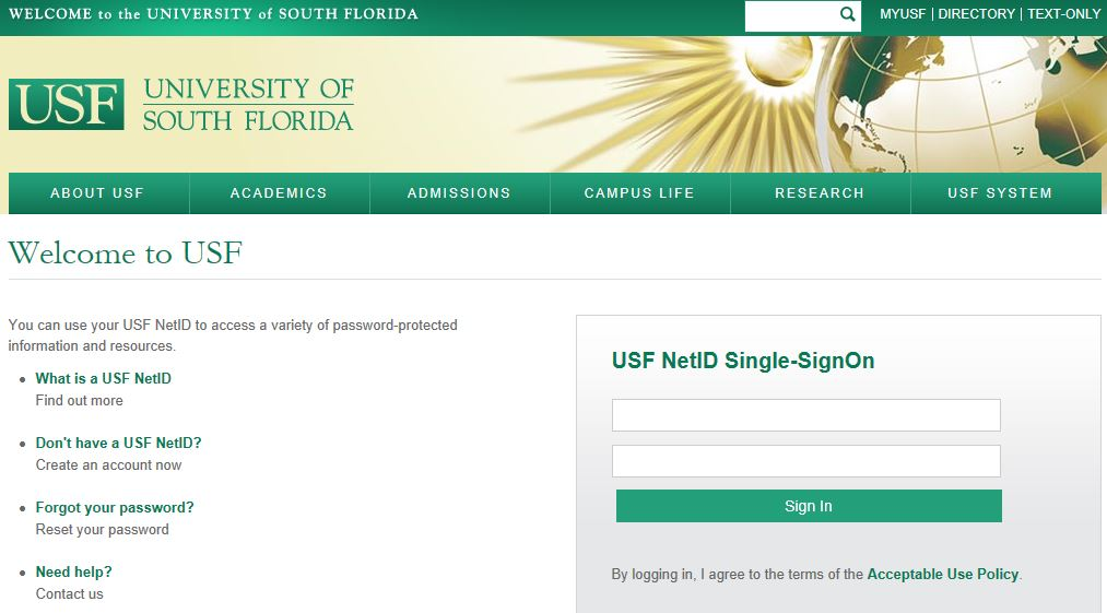 USF Health Account Request