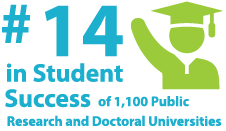 14th in student success of 1,100 public research and doctoral universities